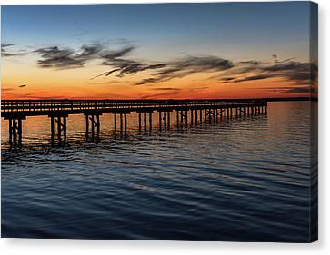 Sunset Pier Seaside Nj January 2017 Canvas Print by Terry DeLuco