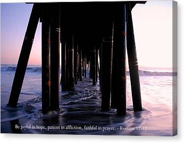 Canvas Print featuring the photograph Sunset Pier View With Romans 12-12 Scripture by Matt Harang