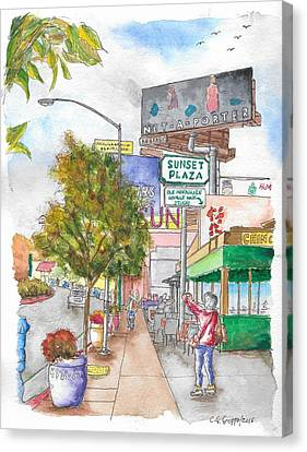 Sunset Plaza, Sunset Blvd., And Londonderry, West Hollywood, California Canvas Print by Carlos G Groppa