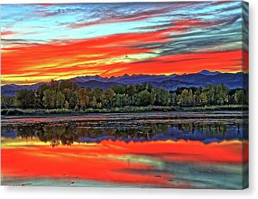 Canvas Print featuring the photograph Sunset Ponds by Scott Mahon
