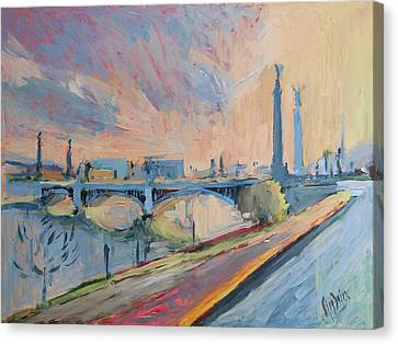 Sunset Pont Fragnee Canvas Print by Nop Briex