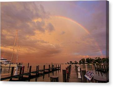 Canvas Print featuring the photograph Sunset Rainbow by Jennifer Casey