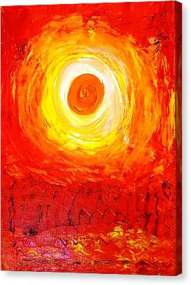 Canvas Print featuring the painting Sunset Red by Piety Dsilva