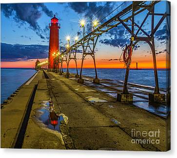 Sunset Reflection At Grand Haven Canvas Print by Nick Zelinsky
