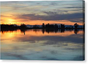 Canvas Print featuring the photograph Sunset Reflections by AJ Schibig