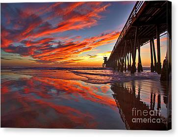Sunset Reflections At The Imperial Beach Pier Canvas Print by Sam Antonio Photography