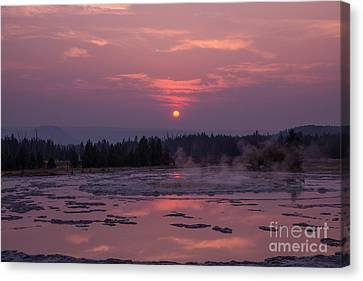 Sunset Reflections On The Great Fountain Geyser Canvas Print by Michael Ver Sprill