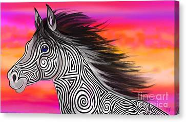 Canvas Print featuring the painting Sunset Ride Tribal Horse by Nick Gustafson