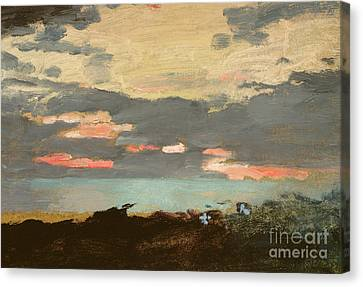 Sunset, Saco Bay Canvas Print by Winslow Homer