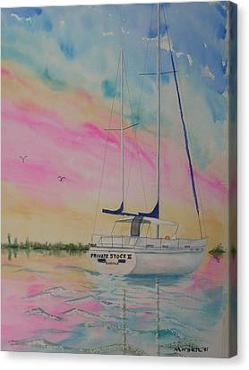 Sunset Sail 3 Canvas Print by Warren Thompson