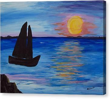 Sunset Sail Dark Canvas Print by Barbara McDevitt
