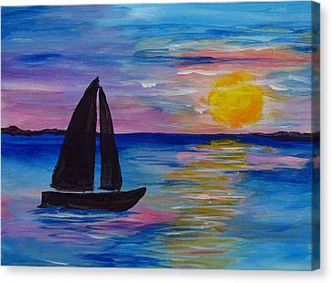 Sunset Sail Small Canvas Print by Barbara McDevitt