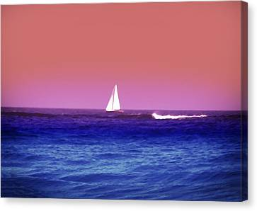 Sunset Sailboat Canvas Print by Bill Cannon