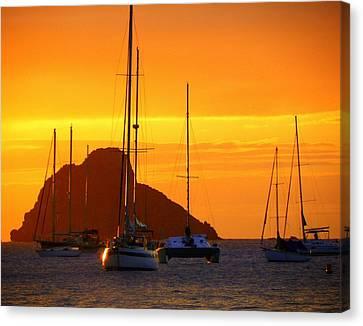 Sunset Sails Canvas Print by Karen Wiles