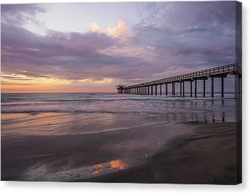 Sunset  Scripps Beach Pier La Jolla Ca Img 1 Canvas Print by Bruce Pritchett