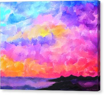 Canvas Print featuring the mixed media Sunset Serenade Memories by Mark Tisdale