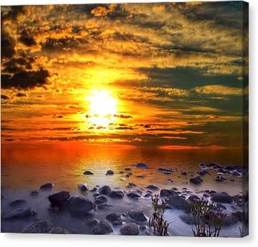 Sunset Shoreline Canvas Print by Mark Taylor