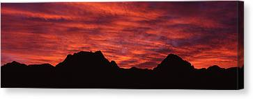 Fiery Red Canvas Print - Sunset Silhouette Mountain Range Nv Usa by Panoramic Images