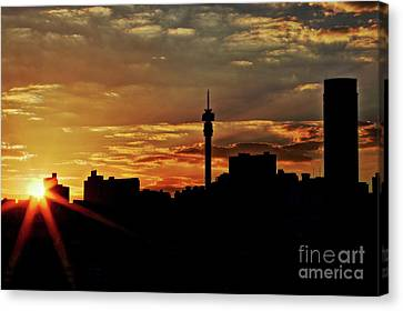 Sunset Silhouette View Of The Johannesburg Skyline Canvas Print