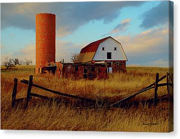 Sunset Silo Barn Canvas Print by Stephen  Johnson