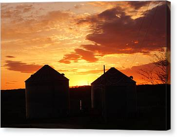 Canvas Print featuring the digital art Sunset Silos by Jana Russon