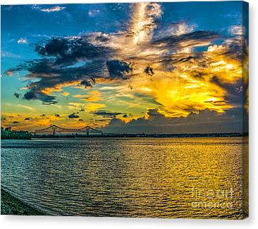 Sunset Sky At The Commodore Barry Canvas Print by Nick Zelinsky