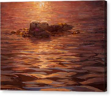 Canvas Print featuring the painting Sunset Snuggle - Sea Otters Floating With Kelp At Dusk by Karen Whitworth