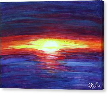 Canvas Print featuring the painting Sunset by Sonya Nancy Capling-Bacle