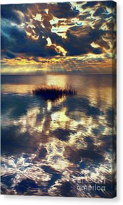 Sunset Sunbeams On Pamlico Sound Outer Banks Ap Canvas Print by Dan Carmichael