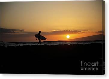 Hawaiian Rock Art Canvas Print - Sunset Surfer by Brandon Tabiolo - Printscapes