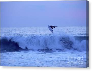 Canvas Print - Sunset Surfer Puerto Escondido Oaxaca Mexico by Linda Queally