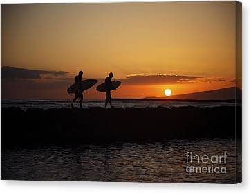 Sunset Surfers Canvas Print by Brandon Tabiolo - Printscapes