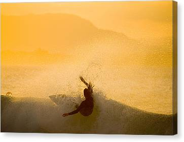 Sunset Surfing At The Pass Canvas Print by Greg Elms