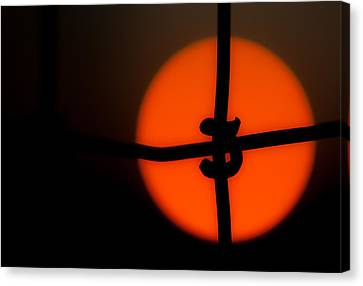 Sunset Through The Fence Canvas Print by Mark Alder