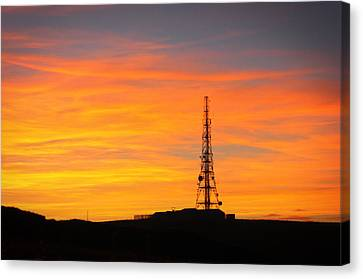 Canvas Print featuring the photograph Sunset Tower by RKAB Works