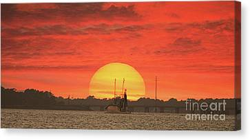 Harkers Island Canvas Print - Sunset Trawler by Benanne Stiens