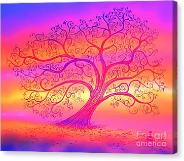 Canvas Print featuring the painting Sunset Tree Cats by Nick Gustafson