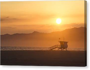 Sunset Venice Beach  Canvas Print by Christina Lihani