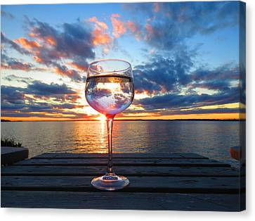 June Sunset On The River Canvas Print