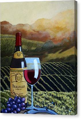 Beaujolais Canvas Print - Sunset W/beaujolais by Linda Apple