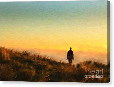 Sunset Walk Canvas Print by Chris Armytage