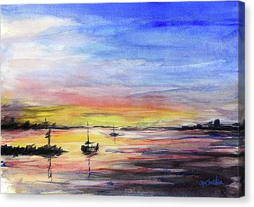 Sunset Watercolor Downtown Kirkland Canvas Print by Olga Shvartsur