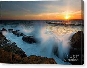 Sunset Waves Crash Canvas Print by Mike Dawson