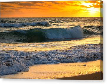 Sunset Waves Canvas Print by Rebecca Hiatt
