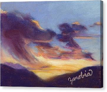Sunset West Of Town Canvas Print by Zanobia Shalks