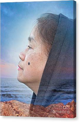 Filipina Canvas Print - Sunset With A Profile Portrait Of A Filipina With A Mole On Her Cheek by Jim Fitzpatrick