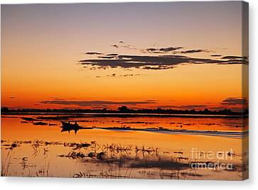 Sunset With Boat At Chobe River, Botsuana Canvas Print