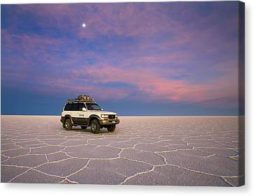 Lake Uyuni Sunset With Car Canvas Print
