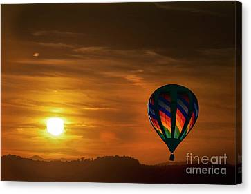 Sunset With Hot Air Balloon In Sky Canvas Print by Dan Friend