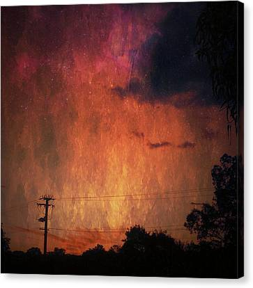 Sunset With Telegraph Pole Canvas Print by AlyZen Moonshadow